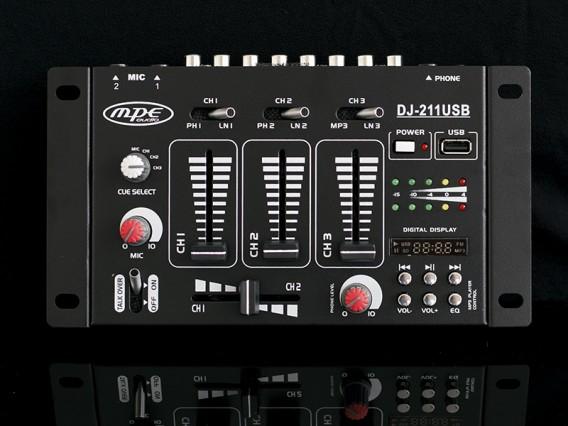 Mixer passivo MPE 3 canali stereo + presa usb con lettore mp3 integrato e preascolto in cuffia mod: DJ211