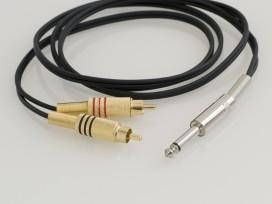 Cavo adattatore piattina assemblato con 2 connettori RCA ed un Jack mono D. 6,3mm mod: A6
