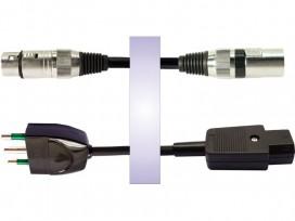 Cavo professionale phono-rete assemblato con 2 cannon maschio / femmina + spina rete 3 poli e presa rete 3 poli mod: RS10