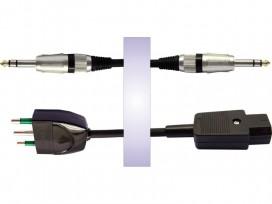 Cavo professionale phono-rete assemblato con 2 jack stereo D. 6,3mm + spina rete 3 poli e presa rete 3 poli mod: RS20