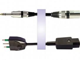 Cavo professionale phono-rete assemblato con 1 jack stereo D. 6,3mm e 1 XLR cannon maschio + spina rete 3 poli e presa rete 3 po