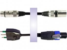 Cavo professionale phono-rete assemblato con 2 XLR cannon maschio / femmina + spina rete 3 poli e speakon NEUTRIK mod: RS40